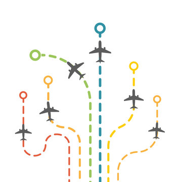 Vector dotted route of flight set with air planes. Collection of colorful plane traces. Airplanes trail set infographic elements
