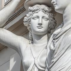 Aluminium Prints Historic monument Portrait of balcony support statue of young and naked sensual Roman renaissance era women in Vienna, Austria, details, closeup