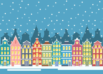 Vector illustration of winter city houses in christmas time. Winter urban landscape. Amsterdam houses, baner flat cartoon design.