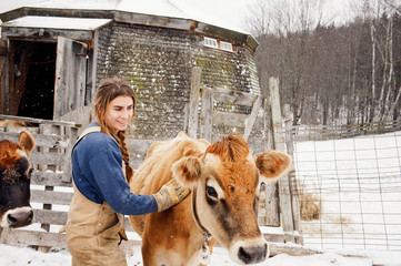 Woman stroking cow on snow covered field