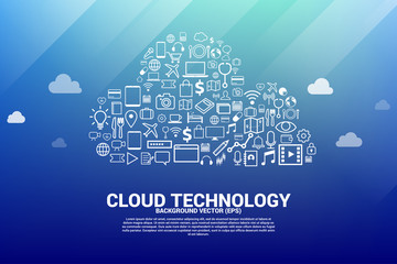 Cloud computing network technology shaped with utility functional icon.Concept of cloud server, Storage and data
