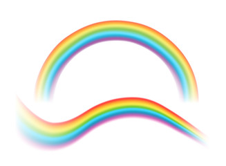 Vector illustration of transparent rainbows of different shapes isolated on white background.