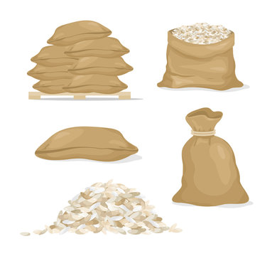 Vector illustration set of rice in bags and rice grain, cereals in cartoon style on white background.