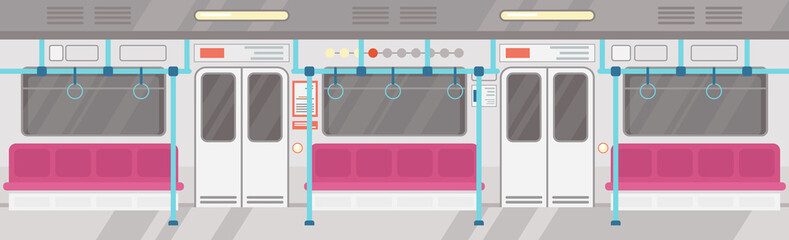 Vector illustration of empty of modern subway interior. City public transport concept, underground tram interior with colorful seats in flat cartoon style.