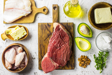 Keto diet concept. Ketogenic diet food. Balanced low-carb food background.