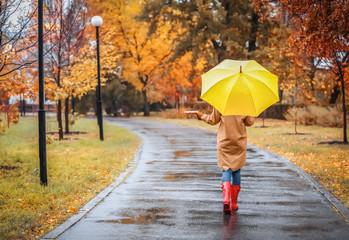 Woman with umbrella taking walk in autumn park on rainy day