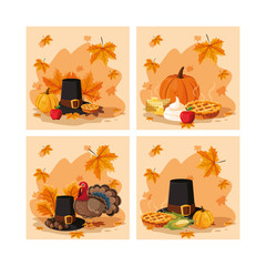 pilgrim hat of thanksgiving day with set icons