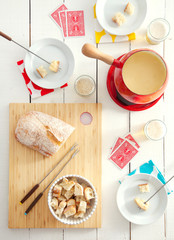 Overhead view of breakfast table