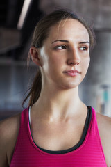 Close-up of confident female athlete