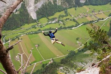 Aerial view of man skydiving