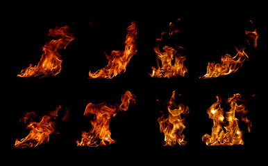 Collection fire flames on black background