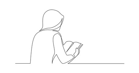 Wall Mural - Self Drawing Line Animation of continuous line drawing of woman reading book