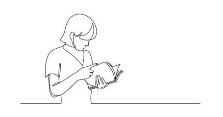 Wall Mural - Self Drawing Line Animation of continuous line drawing of standing young woman reading book
