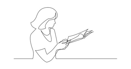 Wall Mural - Self Drawing Line Animation of continuous line drawing of woman reading printed magazine