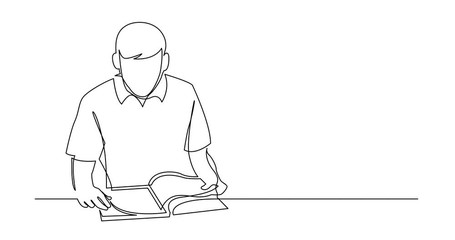Wall Mural - Self Drawing Line Animation of continuous line drawing of young man reading book