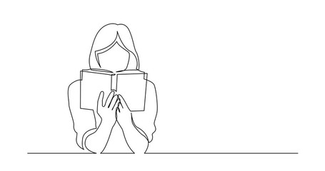 Wall Mural - Self Drawing Line Animation of continuous line drawing of woman focused on reading interesting book