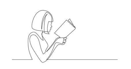 Wall Mural - Self Drawing Line Animation of continuous line drawing of woman concentrated on reading interesting book