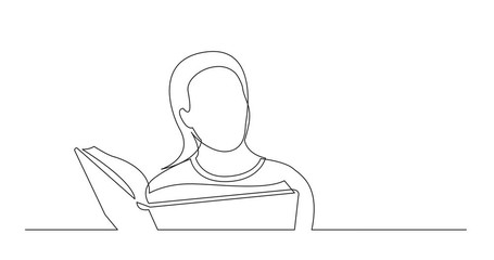 Wall Mural - Self Drawing Line Animation of continuous line drawing of woman studying reading book