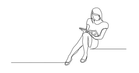 Wall Mural - Self Drawing Line Animation of continuous line drawing of young woman sitting reading book
