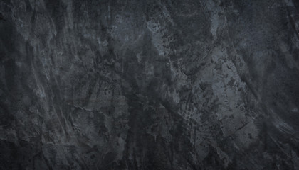 Wall Mural - Panorama black concrete wall texture background. Black slate concrete texture surface