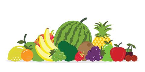 Group of fresh fruit isolated on white background.