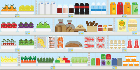 Supermarket shelves with food and drinks.