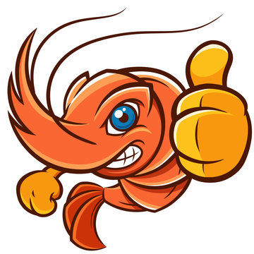 Vector Illustration of Cartoon shrimp