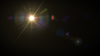 Solar Lens flare light special effect on Black background