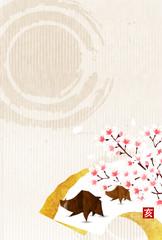 亥 和紙 年賀状 背景
