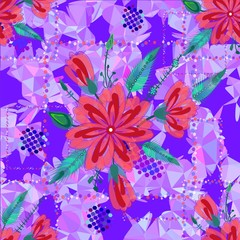 Amazing seamless floral pattern bright color flowers