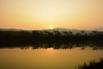 A beautiful landscape around a river in the morning time.