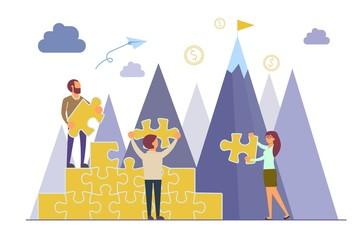 Business teamwork concept vector flat style illustration