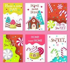Vector set of cards with sweet candies