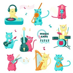 Cute funny music cats vector isolated illustration