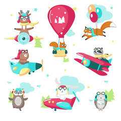Cute funny pilot animals vector isolated illustration