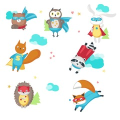 Superhero animals. Vector illustration isolated on white background. Cute little raccoon, rabbit, bear, owl, fox, squirrel and hedgehog in super hero costumes.