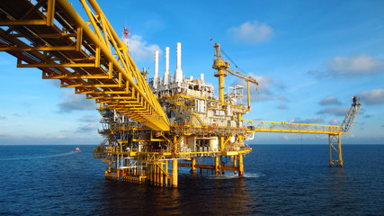 Oil and gas industry .Offshore construction platform for production oil and gas, Production platform and oil and rig industry .