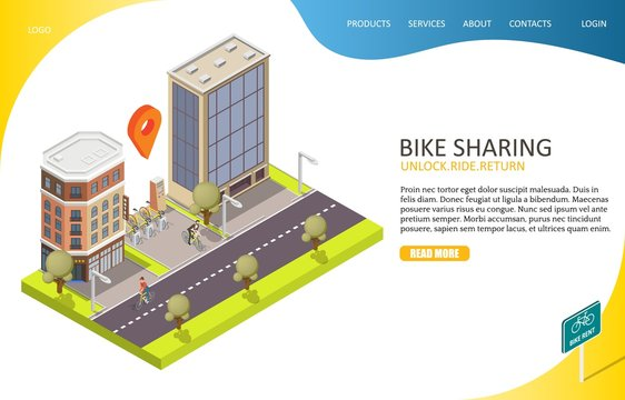 Bike sharing landing page website vector template