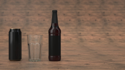 Mock up of beer bottle, can and an empty glass
