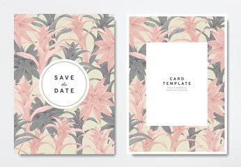 Greenery wedding invitation card template design, pink and black Bromeliaceae with circle and rectangle frames on light brown, vintage style
