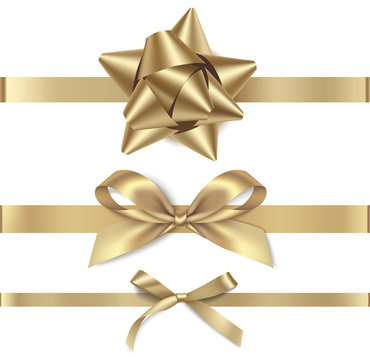 Set of decorative golden bows with horizontal gold ribbon isolated on white background. Vector illustration. Holiday decorations
