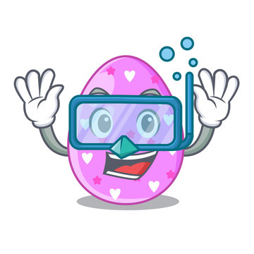Diving cartoon shape easter color on eggs