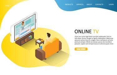 Online TV landing page website vector template