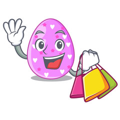 Shopping cartoon shape easter color on eggs