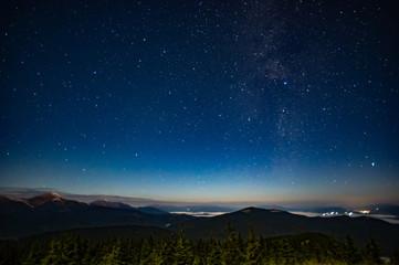 Starry sky in the Carpathians