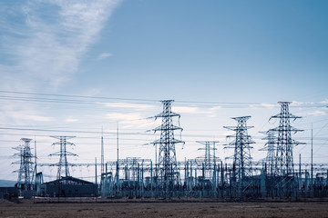 transformer substation and distribution of electric towers