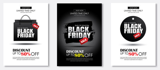 Set of black friday sale flyer template. Use for poster, newsletter, shopping, promotion, advertising.