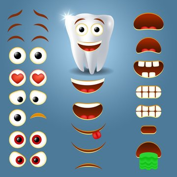 Tooth emoji maker, smiley creator vector illustration
