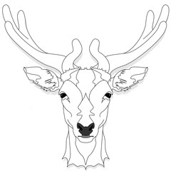 Stylized deer head vector monochrome  illustration isolated on white background