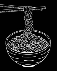 Doodle noodle at bowl and stick. hand drawing